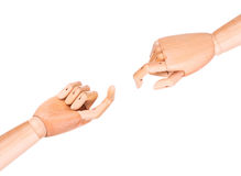 Wooden finger pointing or touching. Image of a wooden finger pointing  or touching isolated on a white background Stock Image
