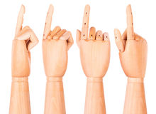 Wooden finger pointing or touching Stock Image
