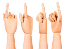 Wooden finger pointing or touching Royalty Free Stock Photos