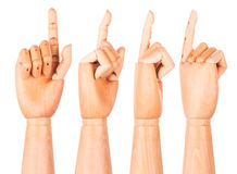 Wooden finger pointing or touching Royalty Free Stock Images