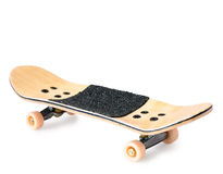 Wooden fingerboard. Fingerboard (small copy of skateboard) on white background with shadow royalty free stock photography