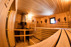 Wooden finnish sauna interior Stock Images