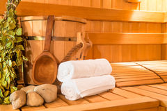 Wooden Finnish sauna Stock Photos