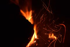 Wooden Fire Stock Photo