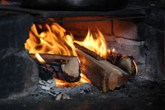 Wooden in fire. On country side house Royalty Free Stock Photo