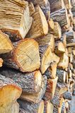 Wooden fire wood logs in a pile Royalty Free Stock Photo