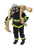 Wooden Fireman Carrying a Person to Safety Royalty Free Stock Image