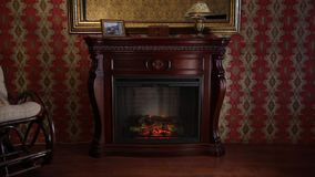 Wooden Fireplace in Conservative Interior stock video