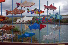 Wooden fish art at the salmon ladder in whitehorse. Royalty Free Stock Images