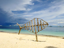 Wooden Fish. Sculpture in Malapascua Island, Philippines Royalty Free Stock Photography