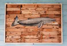Wooden fish. On Wood  background wall Stock Photos