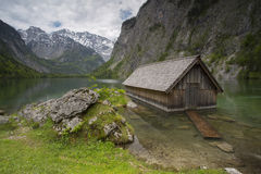 Wooden fisher hut in Alps Stock Image