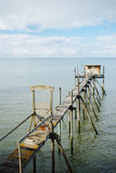 Wooden fisherman hut royalty free stock images