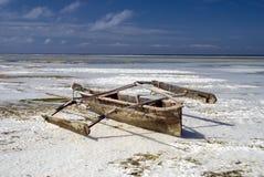 Wooden fishermens boat off Zanzibar Stock Images