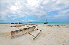 Wooden Fishing boat on a beach of Zanzibar Island Royalty Free Stock Images