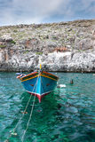 Wooden fishing boat at Gozo island front view. Traditional fishing boat at Gozo island, Malta Royalty Free Stock Images