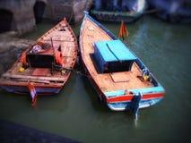 Wooden Fishing Boat near beach. stock photo