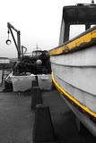 Wooden fishing boat on a quayside Royalty Free Stock Images