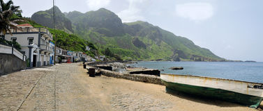 Wooden Fishing boat by Road in Fajan D'Agua Stock Images