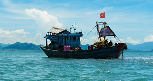 Wooden Fishing boat at sea Royalty Free Stock Images