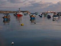 Wooden fishing boats, Marsaxlokk, Malta royalty free stock image