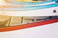 Wooden fishing boats in closeup Royalty Free Stock Photos