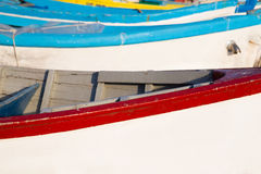 Wooden fishing boats in closeup Royalty Free Stock Photo