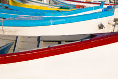 Wooden fishing boats in closeup Royalty Free Stock Images
