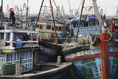 Wooden Fishing Boats Congested At The Fishing Village in Da Nang, South Vietnam stock image