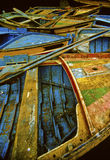 Wooden fishing boats. Located in the port of Nazare, Portugal Royalty Free Stock Image