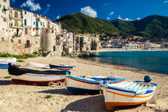 Wooden Fishing Boats On The Old Beach Of Cefalu Stock Images