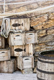 Wooden fishing crates and seine Royalty Free Stock Image