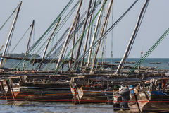 Wooden fishing dhows Stock Images