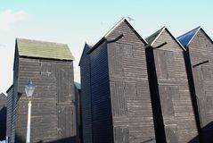 Wooden fishing net huts, Hastings Royalty Free Stock Photo