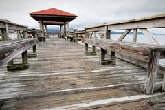 Fishing Pier at Lake Dardanelle royalty free stock photography