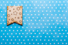 Wooden flag with stars on blue Stock Photos
