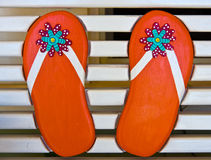 Wooden Flip Flops Royalty Free Stock Photography