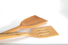 Wooden flipper used in frying Stock Images