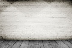 Wooden Floor And Brick Wall Background Stock Photos
