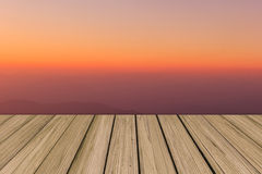 Wooden floor background aspiring to soft color sky Royalty Free Stock Photo