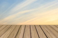 Wooden floor background aspiring to soft color sky Stock Photos