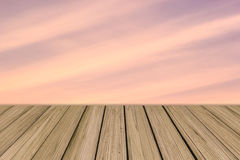 Wooden floor background aspiring to soft color sky Stock Images