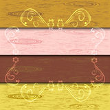 Wooden floor background. Vector illustration of a background with four different wooden structured planks, available for separate or all together use, with a Stock Images