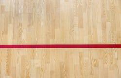 Wooden floor badminton, futsal, handball, volleyball, football, soccer court. Wooden floor of sports hall with marking red lines o. N wooden floor indoor, gym stock image