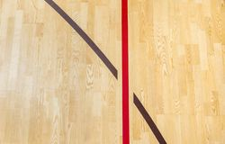 Wooden floor badminton, futsal, handball, volleyball, football, soccer court. Wooden floor of sports hall with marking red lines o. N wooden floor indoor, gym stock photography
