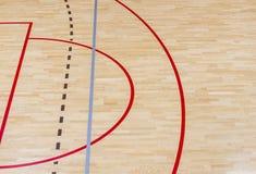 Wooden floor badminton, futsal, handball, volleyball, football, soccer court. Wooden floor of sports hall with marking red lines o. N wooden floor indoor, gym stock photography