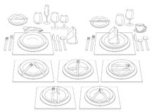 Wooden floor of the bars. Background to create an interior design.Etiquette at the table. Rules of conduct with cutlery. Etiquette at the table. Rules of stock illustration