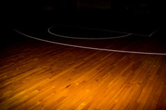 Wooden floor basketball court. With light effect Royalty Free Stock Photography