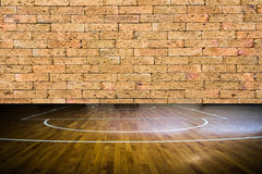 Wooden floor basketball court Royalty Free Stock Image