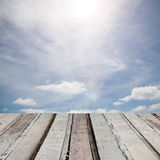 Wooden floor with beautiful blue sky scenery for background Royalty Free Stock Image